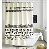Uphome Fabric Shower Curtain Black and Beige Geometric Pattern Cloth Shower Curtain Set with Hooks Chic Boho Bathroom Decor,H