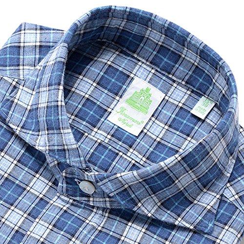 (フィナモレ)Finamore 製品洗いコットン微起毛オックスフォードチェックシャツ『SIMONE』 (インディゴブルー×ライトブルー×ホワイト×シアンブルー) メンズ