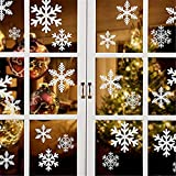 ForPeak 135 PCS Christmas Snowflakes Window Cling Stickers Decorations - White Christmas Window Decals for Christmas Decorations - 5 Sheets