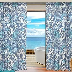 Ferlin レースカーテン おしゃれ 断熱 遮光 ミラーカーテン UVカット 目隠し効果 ブルー 迷彩 外線カット 北欧 出窓 薄手 1組2枚入り 幅140cmx丈200cm