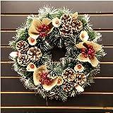 CASSIE クリスマスリース ゴールド系 リース 45cm ポインセチア 造花 布製 おしゃれ 高級 松ぼっくり 木の実 クリスマス 飾り インテリア 壁飾り 輪 壁掛け 玄関 ドア 華やか ゴージャス かわいい アクセサリー プレゼント ギフト 贈り物 店舗装飾 X'mas サンタ 玄関リース
