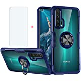 Phone Case for Huawei Nova 5T with Tempered Glass Screen Protector Clear Cover and Magnetic Stand Ring Holder Slim Hard Cell
