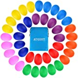 40 Pieces Plastic Egg Shakers Percussion Musical Egg Maracas with a Storage Bag for Toys Music Learning DIY Painting(8)