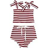 Newborn Baby Girls Striped Shorts Set Ribbed Sleeveless Halter Tank Tops +Drawstring Shorts 2PCS Summer Outfit