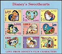 ディズニーのラブ切手 ネビス1996年9種連刷シート 映画、美女と野獣、アラジン、白雪姫、シンデレラ、ピノキオなど