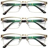 Jyouhin 3 Pack Reading Glasses for Men Blue Light Blocking Anti Glare Eyeglasses