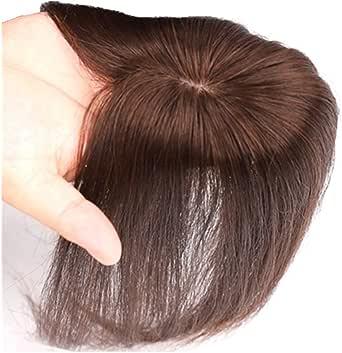 AISIHAIRウィッグ ストレートヘアー 通気 ウイッグ かつら 総手植え人毛100% 脱毛隠しヘアーピース つむじ人工スキン