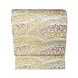 仕立て上がり たつむら 錦 龍村美術織物 袋帯 西陣織 正絹 彩円唐草文 白色の地 金色 六通 仕立て 上り 絹芯 仕立て