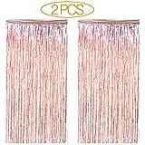 シャンパンゴールドメタリックティンセルホイルフリンジカーテン 3.3フィート×6.5フィート 卒業式 誕生日 ウェディング クリスマス 大晦日パーティー きらめくカーテン 背景装飾 写真ブース小道具 2個セット