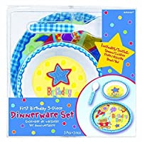 Amscan Little Buddy Boys' 1St Birthday Party Hugs & Stitches Dish Set (3 Piece), Blue, One Size [並行輸入品]
