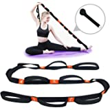 """5BILLION Yoga Stretch Strap with Loops - 1.6"""" x 6.7ft - Cotton Yoga Strap for Hot Yoga, Physical Therapy, Greater Flexibility"""