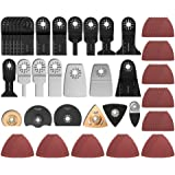 100 Pack Oscillating Multi-Tool Saw Blades with Triangular sandpaper for Wood/Plastic/Soft Metal Cutting for Bosch Fein Milwa