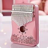 Kalimba 17 Keys C Tone Pink Thumb Piano Mahogany Profession Marimbas Finger Instrument for Kids Adult Girlfriend Festival Gif