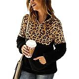 Sherpa Pullover Womens Sweatshirt Leopard Print Color Block 1/4 Zip Fleece Jacket Outwear with Pockets
