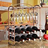 KING DO WAY ワインスタンド ワイングラス ワインボトルホルダー おりたたみ ワインラック 8本収納 ブロンズ ブロンズ
