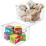 mDesign Plastic Storage Organizer, Holder Bin Box with Handles - for Cube Furniture Shelving Organization for Closet, Kid's B