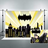 Riyidecor Superhero Cityscape Batman Backdrop Polyester Fabric Night Buildings Scene Photography Backgrounds 7x5 Feet Child B