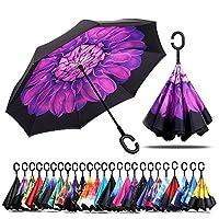 Jooayou 逆転傘 逆さ傘 逆折り式傘 反転傘 自立傘 長傘 手離れC型手元 耐風 撥水加工 晴雨兼用 ビジネス用 車用 UVカット 遮光遮熱 (紫のデイジー)