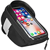 Bike Phone Front Fram Bag - Waterproof Bicycle Top Tube Cycling Phone Mount Pack Phone Case with Transparent Touch Screen Win