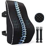 PROMIC Memory Foam Lumbar Support Back Cushion w/Breathable 3D Mesh Cover, Full Lumbar High-Back Pillow for Back Pain, Ergono