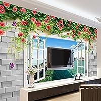 Wapel 3 D の風景を背景に、シームレスな大壁画の外、リビングルーム、不織布を角質ケアクロスローズ海 300 X 210 cm