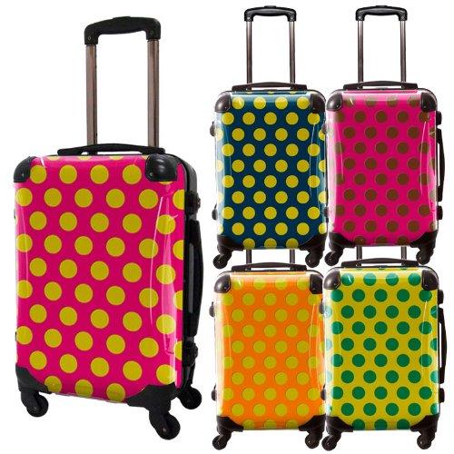 コミカルドットスーツケース/ベーシック/フレーム4輪/TSAロック/機内持込可能/キャラート/水玉/ブラック ネーブルスイエロー ピンク ブラウン オレンジ ボルドー ライトグリーン ブラック ネイビー グリーン/CRA01-027