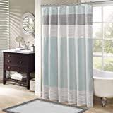 Amherst Fabric Aqua Shower Curtain,Pieced Transitional Simple Shower Curtains for Bathroom, 72 X 72, Blue