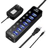 USB 3.0 ハブ セルフパワー ELEGIANT 7ポート+1充電ポート 電源付き 5V/4A 個別 スイッチ LE…