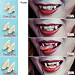 Vampire Teeth Fangs Dentures - 4 Pair - Cosplay Props Halloween Costume Props Party Favors - Without Denture Adhesive
