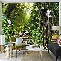 Ljjlm 3D壁紙モダンネイチャー風景緑の森の壁画壁紙リビングルームのベッドルームの背景壁装材-280X200CM