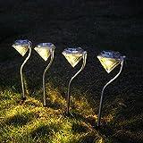 ガーデンライト 飾り ソーラーライト 4枚セット 昼間 自動充電 夜間 自動点灯 ダイヤモンド型 おしゃれ 暖色 LED アウトドアライト 防水 屋外 玄関 ガーデニング 庭 対応 明るい トウタク(Taotuo)