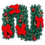 (アスボーグ)ASVOGUE 270CM クリスマス パーティー装飾藤 ボール&ボウ&マツコ クリスマス ガーランド 上品 玄関 クリスマスリース