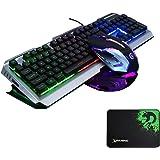 FELiCON®V1 ゲーミングキーボード マウス セット 104キー 英語配列 バックライト アンチゴースト 有線 マウスパッド付 (ブラック&シルバー&ミクス)