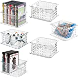mDesign Plastic Stackable Household Storage Organizer Container Bin with Handles - for Media Consoles, Closets, Cabinets - Ho