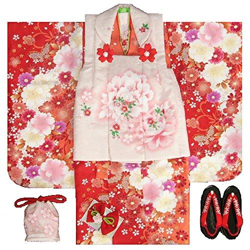 七五三 着物 被布セット 3歳 女の子 マユミ 濃淡赤地 被...
