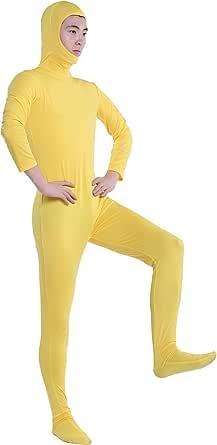 顔部分が開いている 全身タイツ 超特大 100kgサイズ 黄色 ( SS03-2H )