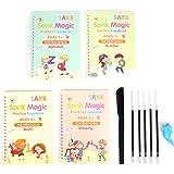 4 PCS English Magic Practice Copybook Sets Reusable Calligraphy with Number Math Alphabet Drawing Handwriting Paste, 1 Pens,