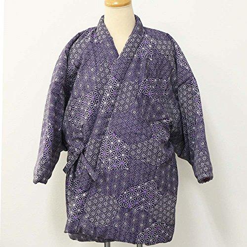 高級綿入れ東雲四つ紐前合わせ半天 紫系 しののめ内合わ 絞り柄 日本製 半纏 半てん はんてん ハンテン