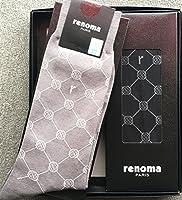renoma レノマ ブランド靴下 2足セット エンブレム柄(ブラック×1グレー×1) 25cm メンズ  ビジネスソックス  ギフト仕様