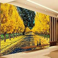 Xbwy 写真の壁紙美しいゴールデンフォレストアベニュー風景カスタム壁画寝室の装飾の背景壁紙-350X250Cm
