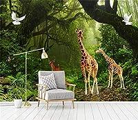 Bzbhart 3D壁紙ファンタジーおとぎ話の森キリン動物の背景壁画の壁紙HDプリント壁紙-250cmx175cm