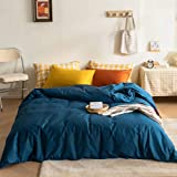 mixinni Luxury 3 Pieces White Leaf Print Duvet Cover Set, 100% Natural Cotton Navy Blue Bedding Set with Zipper Ties Botanica