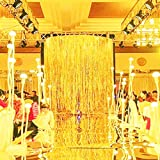 Azowa 2パックheart-shapメタリック箔フリンジカーテンテーブルウェアウィンドウドア文字列のカーテン結婚式誕生日パーティ写真ブースBackdropタッセル画面装置(ピンク、6 x 6 ft ) 6.6X 9.8 ゴールド Laser Curtains Gold 6.6 Flowing