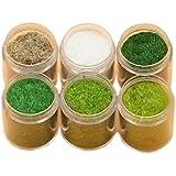 Yalulu 6 Pack Mixed Model Grass Cashmere Powder Green  Grass Fairy Garden Miniatures Clay DIY Artificial Sand Table Micro Lan