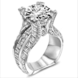 MAIHAO Fashion Women 925 Sterling Silver Ring,White Topaz Cubic Zirconia CZ Diamond Elegant Eternity Engagement Wedding Band