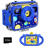 Ourlife Kids Camera, Selfie Kids Waterproof Digital Cameras for Kids 1080P 8MP 2.4 Inch Large Screen with 8GB SD Card, Silico