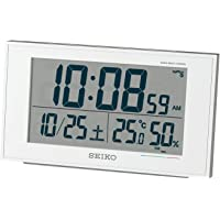 セイコークロック 置き時計 01:白パール 本體サイズ:8.5×14.8×5.3cm 電波 デジタル カレンダー 快適度…