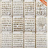 Onest 12 Pack Letter and Number Stencils Alphabet Stencil for Bullet Journal Supplies Scrapbooking Painting Drawing Craft -7 25cm