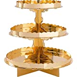 amscan 140075.19 3 Tier Cupcake Treat Stand Gold
