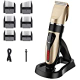 Cordless Hair Clippers, USB Rechargeable Hair Trimmer, IPX7 Waterproof Hair Cutting Kit with Battery Life Indicator LED Displ